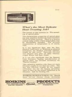 hoskins mfg company 1922 delicate heat-treating job vintage ad