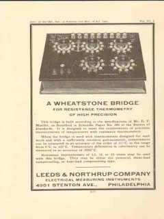 leeds northrup company 1922 wheatstone bridge vintage ad