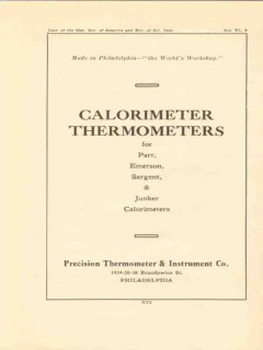 precision thermometer instrument company 1922 calorimeter vintage ad