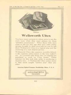 american optical company 1923 wellsworth ultex lenses vintage ad