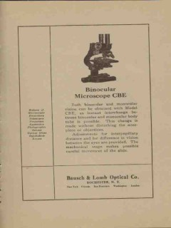bausch lomb optical company 1923 binocular microscope cbe vintage ad