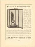 braun corporation 1923 brown adhesivemeter stickiness vintage ad