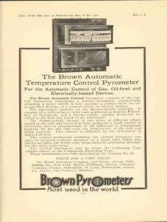 brown instrument company 1923 automatic temperature control vintage ad