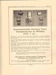 brown instrument company 1923 automatic control temperature vintage ad