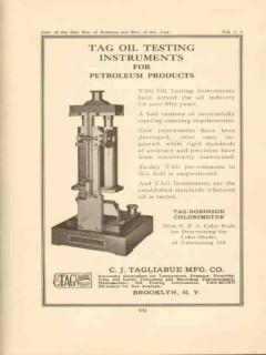 C J Tagliabue Mfg Company 1950 Vintage Ad Tag Oil Testing Instruments