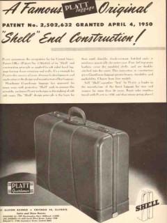Platt Luggage Inc 1950 Vintage Ad Shell End Construction Original