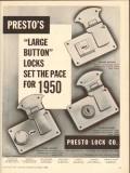 Presto Lock Company 1950 Vintage Ad Luggage Large Button Set Pace