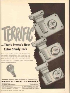 Presto Lock Company 1950 Vintage Ad Luggage Terrific New Extra Sturdy