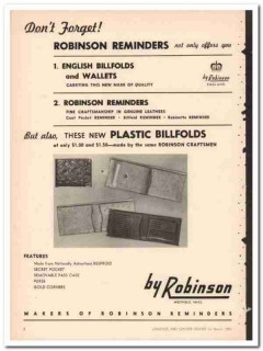 Robinson Reminders Inc 1950 Vintage Ad Billfold Wallet Dont Forget