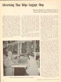 purdys fine leather goods 1950 advertising campaign vintage article