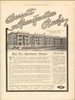 barrett mfg company 1912 colonade apartments kc mo roof vintage ad