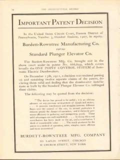 burdett-rowntree mfg company 1912 important patent decision vintage ad