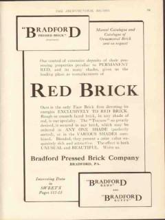 bradford pressed brick company 1912 permanent red mantel vintage ad
