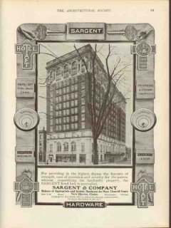 sargent company 1912 hotel taft new haven ct lock hardware vintage ad