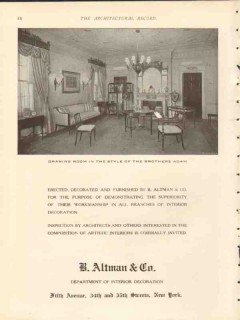 b altman company 1912 drawing room the brothers adam vintage ad