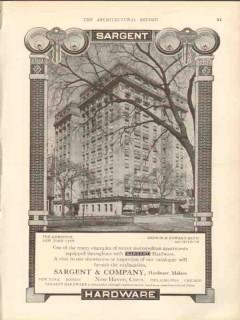 sargent company 1912 the admiston new york city ny hardware vintage ad