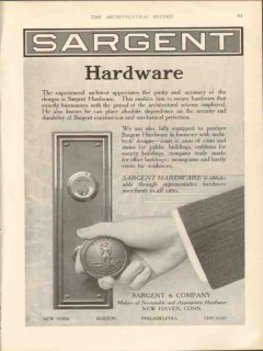 sargent company 1912 the experienced architect hardware vintage ad