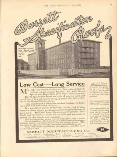 barrett mfg company 1912 shove mills fall river ma roof vintage ad