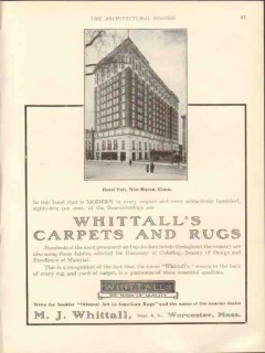m j whittall 1912 hotel taft new haven ct carpets rugs vintage ad
