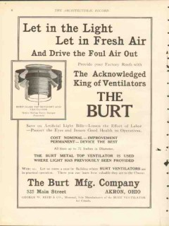 burt mfg company 1912 let in light fresh air ventilation vintage ad