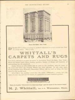 m j whittall 1912 hotel mcalpin new york city carpets rugs vintage ad