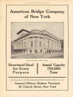 american bridge company 1910 new theater new york vintage ad