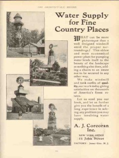 a j corcoran inc 1910 water supply for fine country places vintage ad