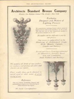 architects standard bronze company 1910 lighting fixtures vintage ad