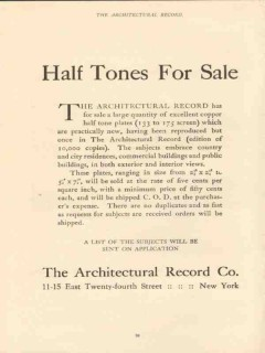 architectural record 1910 copper plate half tones for sale vintage ad