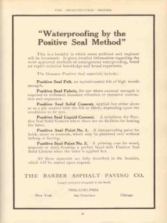 barber asphalt paving co 1910 waterproofing positive seal vintage ad