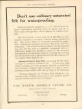 barber asphalt paving company 1910 dont use saturated felt vintage ad
