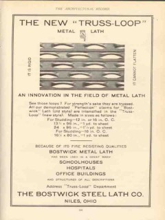 bostwick steel lath company 1910 the new truss-loop metal vintage ad