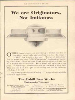 cahill iron works 1910 we are originators not imitators vintage ad