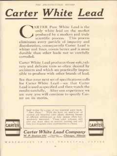 carter white lead company pure white lead paint vintage ad