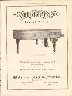 chickering and sons 1910 grand louis xvi period piano vintage ad