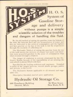 Hydraulic Oil Storage Company 1910 Vintage Ad Gasoline Storage HOS