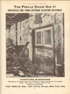 peelle company 1910 door prevented fire entering elevator vintage ad