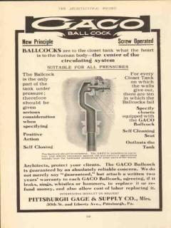 pittsburgh gage supply company 1910 gaco ballcock principle vintage ad
