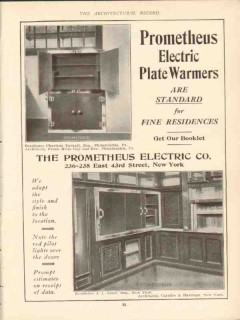 prometheus electric company 1910 plate warmers are standard vintage ad