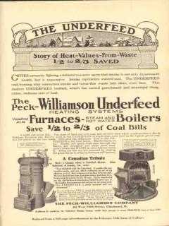 peck-williamson company 1910 the underfeed heat value saved vintage ad