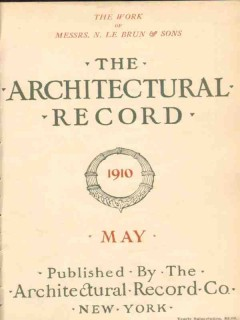 architectural record 1910 may vintage magazine cover