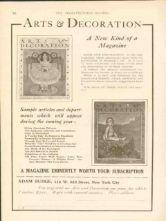 adam budge inc 1911 arts and decoration architect magazine vintage ad
