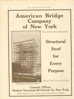 american bridge company ny 1911 yeon building portland or vintage ad