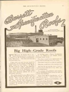 barrett mfg company 1911 minnesota ontario power co roof vintage ad