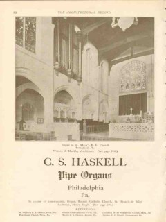 c s haskell 1911 st marks church frankford pa pipe organs vintage ad