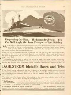 dahlstrom metallic door company 1911 fireproofing our navy vintage ad