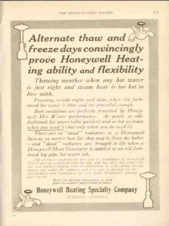 honeywell heating specialty company 1911 alternate thaw vintage ad