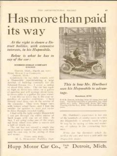 hupp motor car company 1911 h l hurlburt more than paid way vintage ad