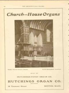 hutchings organ company 1911 trinity church boston ma vintage ad