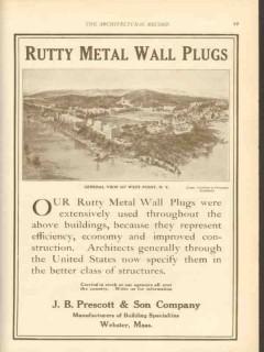 j b prescott son company 1911 rutty metal wall plugs vintage ad